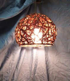 Repurposed basket Caramel color hanging pendant by UpReNew on Etsy, $40.00