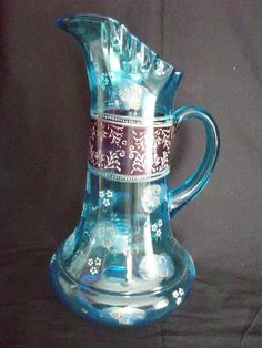 Antique English glass water pitcher blue hand painted