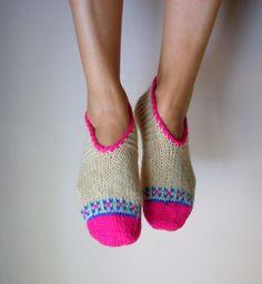 Hand Knit Wool Socks Cream Pink Blue Women's Socks Slippers Christmas Gift. via Etsy.