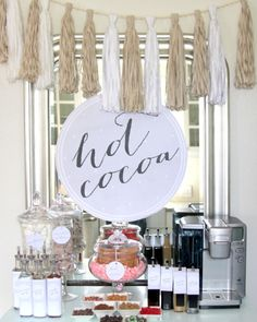 Party drinks for your next fall or winter event! Hot Cocoa Bar ideas for weddings, parties, birthdays, showers! Everyone will love it!