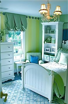 Beautiful girl's room, like the muted color scheme with custom bedding/window treatments
