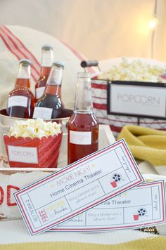 Valentine's Date- movie night in! Includes printables.  So cute!