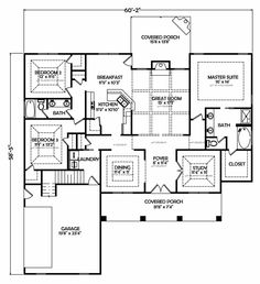 3 bedrooms plus study | Floor Plan 120c Brick Farmhouse Plans