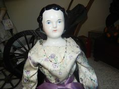 """LOVELY 17"""" ANTIQUE RARE SIDE PART BLACK HAIR CHINA DOLL"""