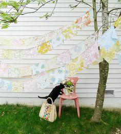 angel, kitty cats, flag, vintage fabrics, black cats, vintage sheets, garland, vintage linen, banner