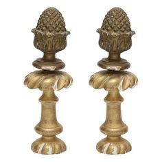 Pair of Old Guilt Plaster and Wood Decorative Finials - $150