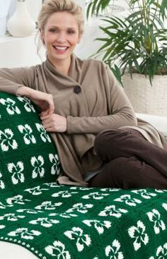 Lucky Clover Throw Free Crochet Pattern from Red Heart Yarns