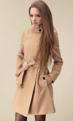 Camel Wide Lapel Belt Oblique Zipper Wool-blend Coat pictures