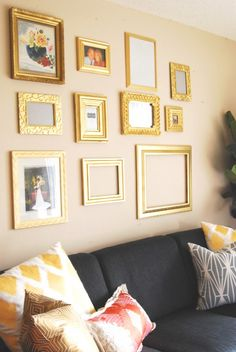 A mix of gold frames