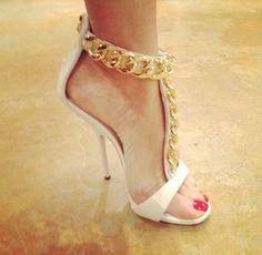 gold chain, unique heels, hot heels, shoe