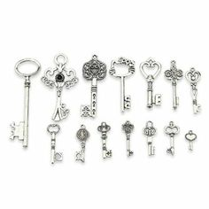 Amazon.com - LolliBeads Antiqued Silver Plated Assorted Key Charm Set Necklace Pendant Bracelet Charm, Victorian Filigree Heart Royal Key (1...