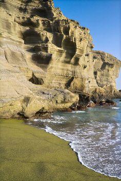 #Green sand beach on the Big Island ,Hawaii