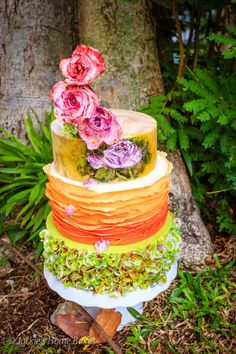 Nature-inspired Colorful Wedding Cake