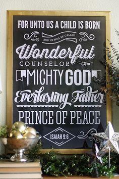 Chalkboard Christmas Poster: Isaiah, Printable, Print, Digital, 8x10, Wall Art, Christmas Decorations
