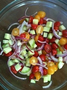 """Mom's Tomato Cucumber Salad Recipe ~ Says: """"The sugar in the dressing is my mom's secret ingredient and makes all the difference. For some variation add corn (grilled corn from the night before is perfect)... The longer this salad sits, the better it gets."""""""