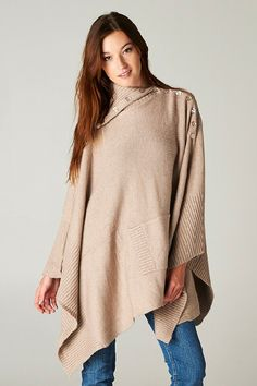 Poncho Sweater in Warm Mocha with Mother of Pearl Button Neckline and Front Pocket Detail. <3 <3 <3!