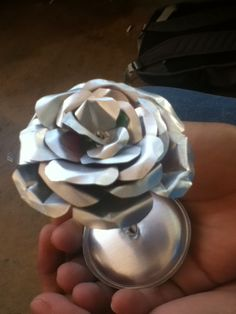 Made a flower out of an Aluminum can- this is the best looking recycling around!!!