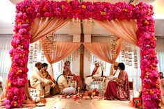Modern Pink Mandap - its all about the flowers!!!!  Flowers, Flowers and More Flowers~!!!