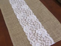 Burlap table runner wedding table runner with very pale pink lace rustic chic