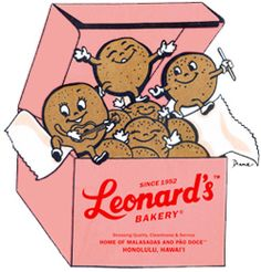 Box of Malasadas from Leonard's Bakery on Oahu - Malasadas are Portuguese donuts filled with coconut custard ... YUM!