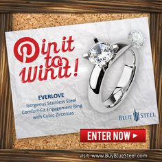 PIN IT TO WIN IT!!!!!!!!!  Re-pin The Pin  to be entered to win a Fabulous Zirconia Ring!  Remember to Check Out BLUE STEEL to learn about future Give-A-Ways!! Winner will be chose on 10/04/13.