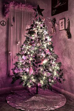 thoughts, skirts, purpl glow, purple christmas, christma tree, christma decor, purpl christma, guest rooms, christmas trees
