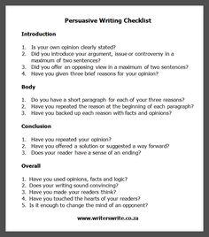 Persuasive Writing Checklist - Writers Write
