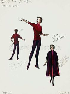 Costume sketches for Judy Garland-A Star Is Born