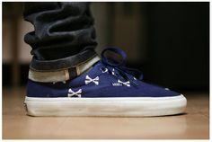 wtap, vans, style, bones, art, men fashion, men shoes, navy, blues
