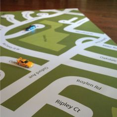 great idea - make a map of your own neighborhood for their cars to play on.