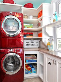 red washer/dryer, aqua walls!