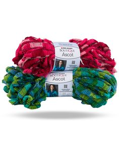 Boutique Ascot - is a twist on the classic ruffle yarn – it is made from a heavier weight acrylic blend yarn, so it will provide warmth as well as being fashionable.   The built in track makes it super easy to use.  Ascot comes in a fun & bright palette of prints.   Make a great scarf with just one ball.