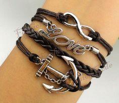 Infinity Anchor & Love BraceletAntique Silver by TheGiftoftheMagi, $6.99