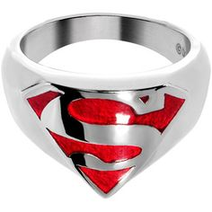 Licensed Stainless Steel Classic Red Superman Ring #bodycandy #superman #ring $19.99