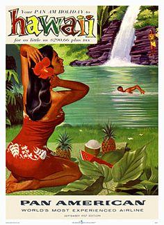 vintag hawaii, vintage hawaii, vintag travel, hawaiian style, travel poster, vintage travel, hawaii pan, pan american, hawaii poster