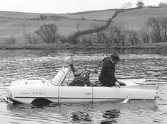 The Amphicar amphibious vehicle Ay-Ell on the River Tai, Scotland, During the salmon fishing season, 1964. Fox Photos, Getty Images