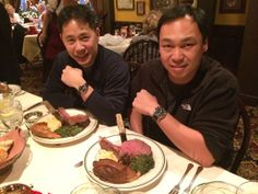 Dr. Cliffton Bong (left) and Chris Nguyen enjoy a meal at the historic Gulliver's Restaurant in Irvine, CA. Dr. Bong is wearing his #IWC Mark XV, while Chris is wearing his newly acquired IWC Pilot's Watch Chronograph.