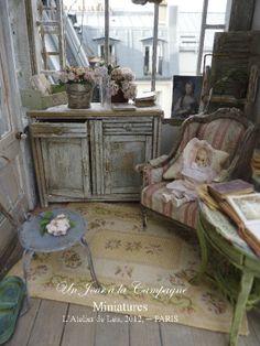 *♥ Un Jour à la Campagne - L'Atelier de Léa ♥* conservatory, jardin dhiver, doll hous, balconies, pari, de lea, dollhouse miniatures, country, atelier