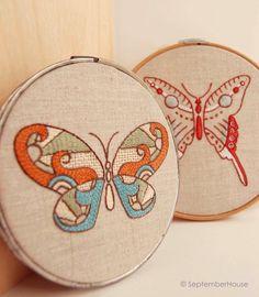 hand embroidery designs modern butterflies