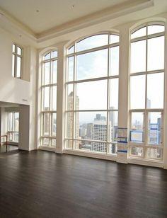 wood floor, high ceilings