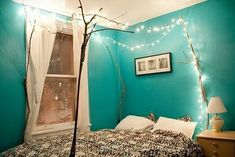 15 Ideas To Hang Christmas Lights In A Bedroom canopi, wall colors, stick, blue, white lights, christmas lights, tree branches, dorm rooms, bedroom