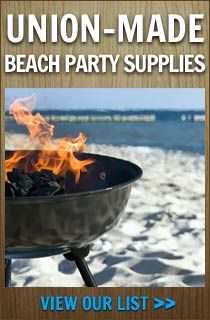 union-made beach party supplies