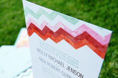 watercolor chevron wedding invites