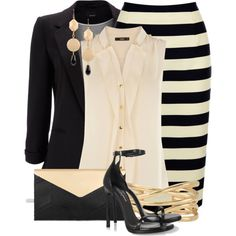 """""""Blazer & Pencil Skirt"""" by colierollers on Polyvore"""