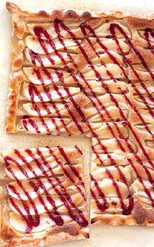 Pear and Frangipane Crostata with Raspberry Vinegar Glaze Recipe  | Epicurious.com