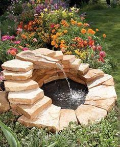 landscap, idea, diy fountain, water features, garden ponds, outdoor fountains, backyard, concret fountain, garden fountains