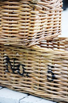 Easy project:  Spray painted numbered baskets
