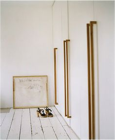 // brass closet handles.
