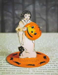 RESERVED - Vintage Halloween 1920's Costumed Girl Stand up Place Card by Whitney. $25.00, via Etsy.