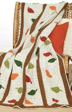 free Autumn Leaves Afghan crochet pattern